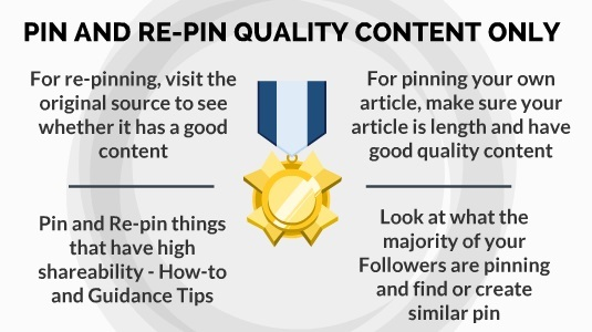 pin and repin quality content in pinterest