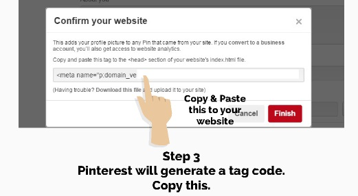 step 3 verify website in pinterest