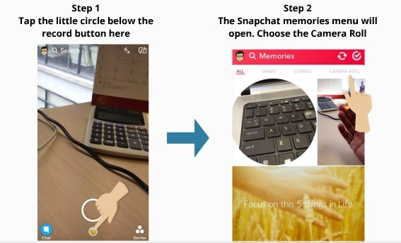 How to use camera roll for snapchat 3