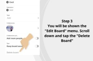 How to delete Pinterest Board 3